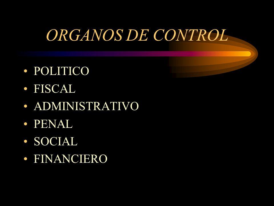 ORGANOS DE CONTROL POLITICO FISCAL ADMINISTRATIVO PENAL SOCIAL