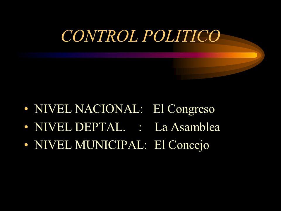 CONTROL POLITICO NIVEL NACIONAL: El Congreso