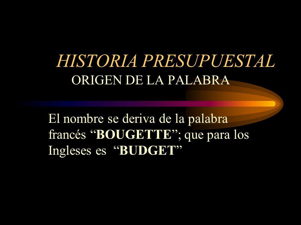 HISTORIA PRESUPUESTAL