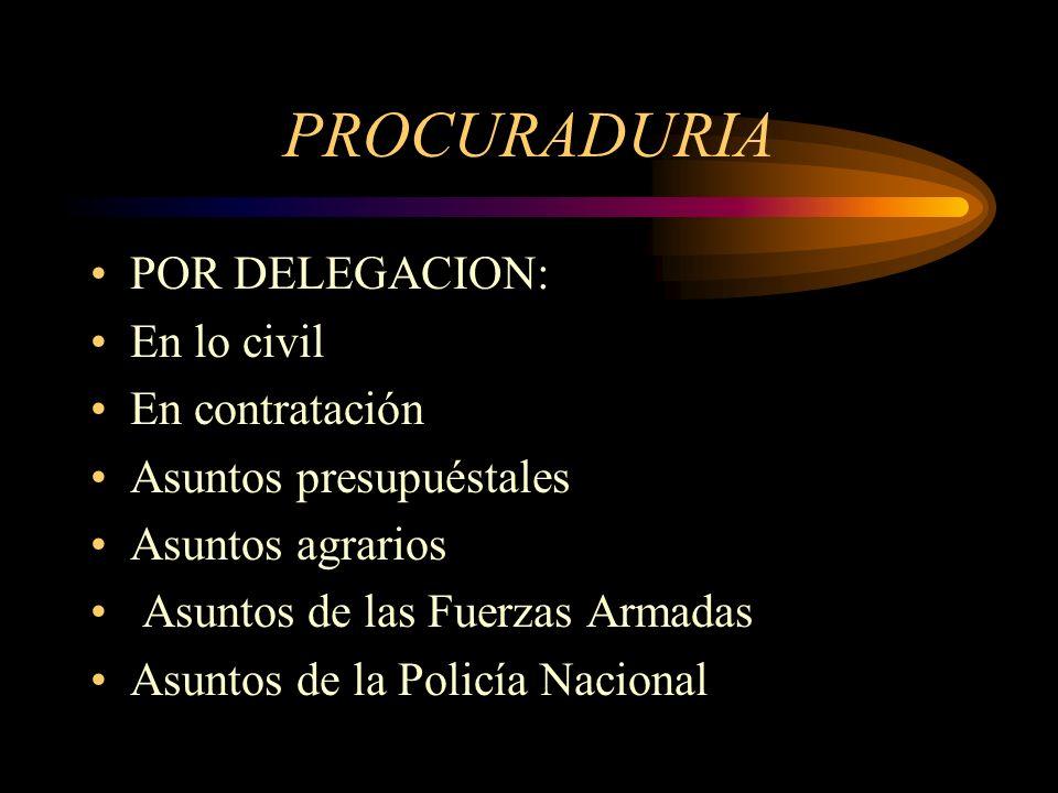 PROCURADURIA POR DELEGACION: En lo civil En contratación