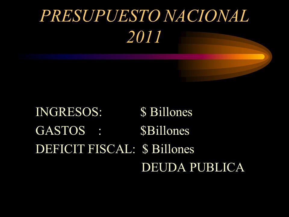 PRESUPUESTO NACIONAL 2011 INGRESOS: $ Billones GASTOS : $Billones