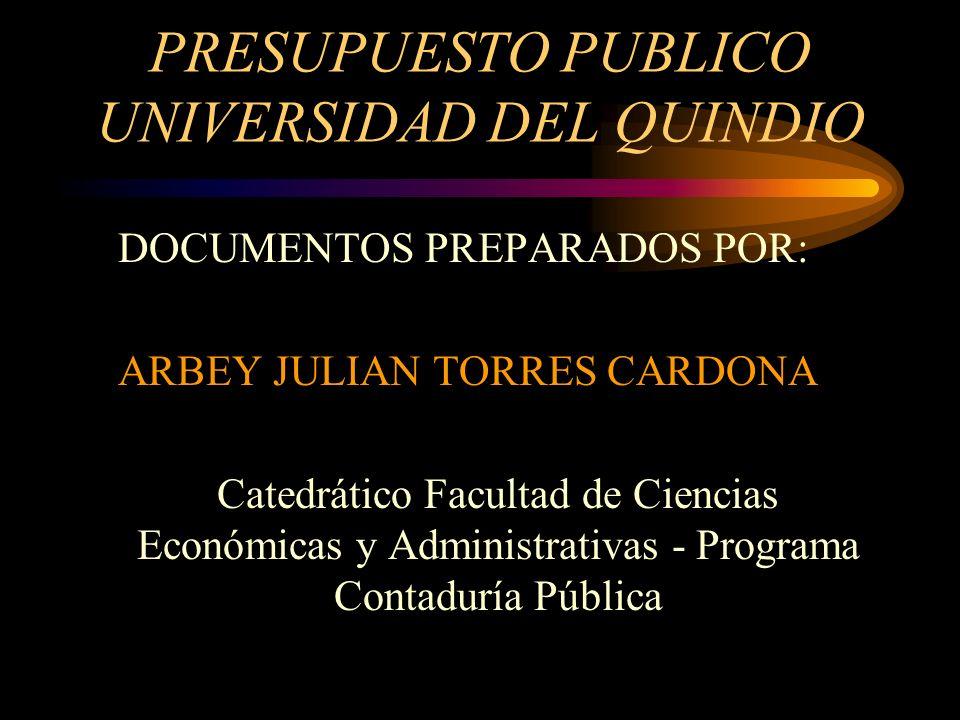 PRESUPUESTO PUBLICO UNIVERSIDAD DEL QUINDIO