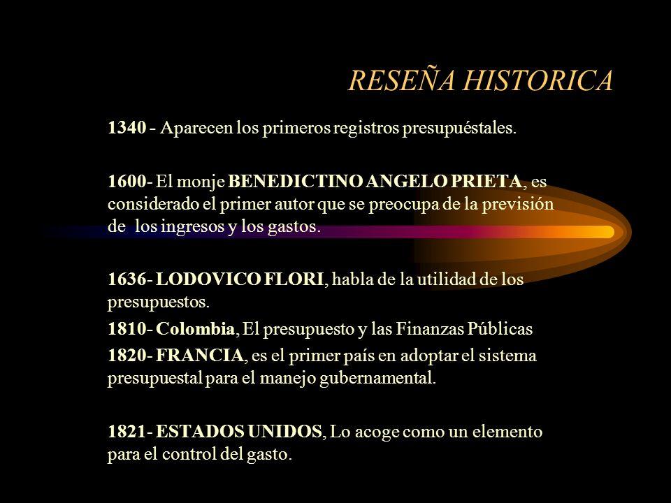 RESEÑA HISTORICA 1340 - Aparecen los primeros registros presupuéstales.