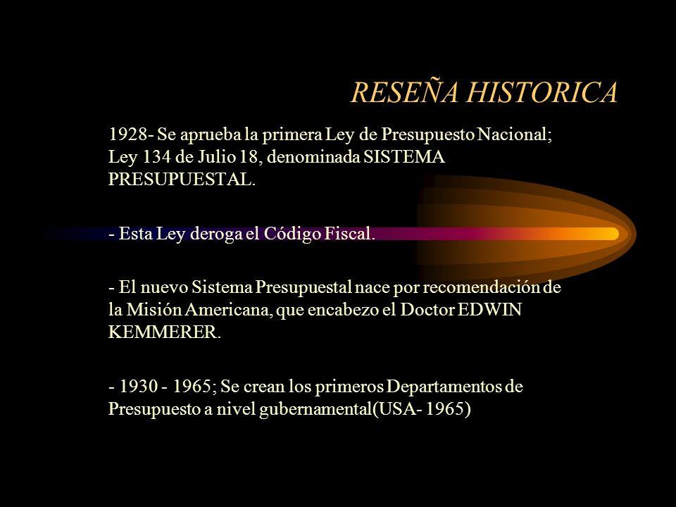 RESEÑA HISTORICA1928- Se aprueba la primera Ley de Presupuesto Nacional; Ley 134 de Julio 18, denominada SISTEMA PRESUPUESTAL.