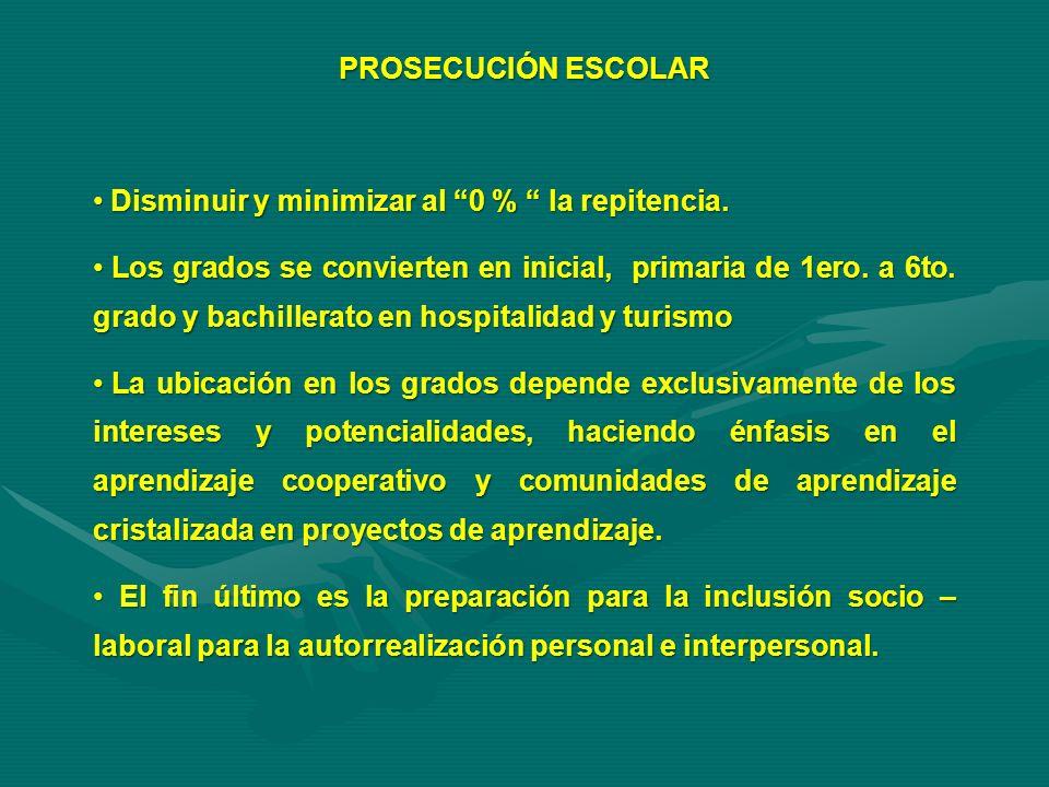 PROSECUCIÓN ESCOLAR Disminuir y minimizar al 0 % la repitencia.