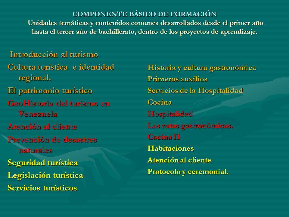 COMPONENTE BÁSICO DE FORMACIÓN Unidades temáticas y contenidos comunes desarrollados desde el primer año hasta el tercer año de bachillerato, dentro de los proyectos de aprendizaje.