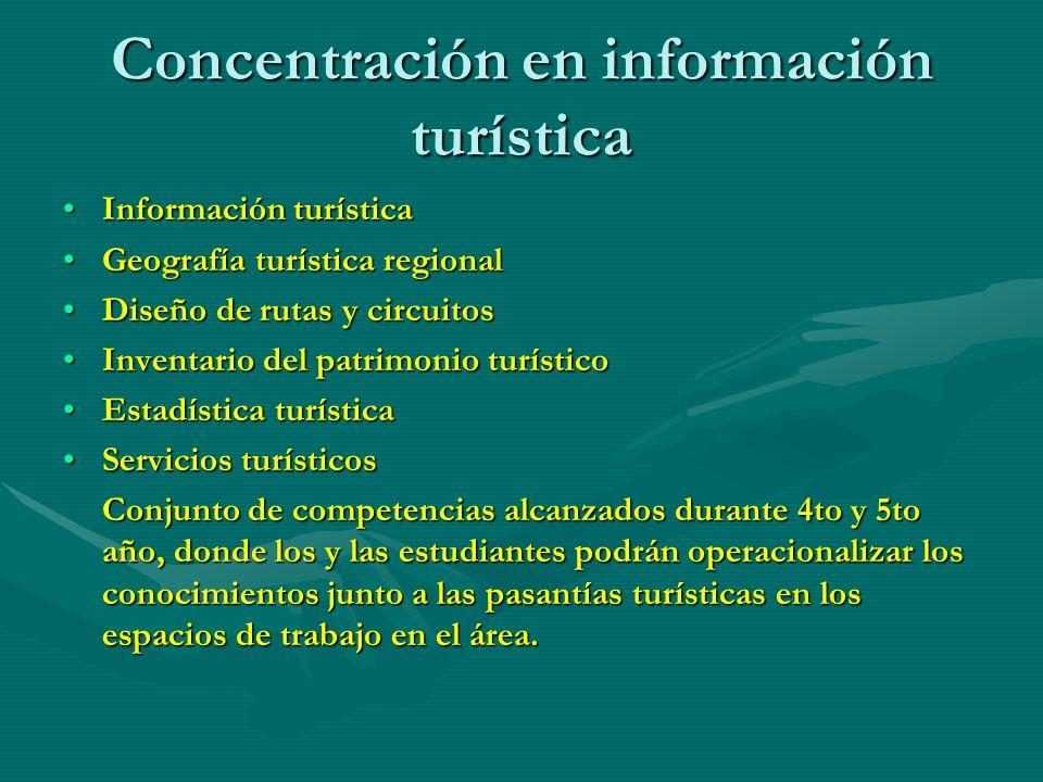 Concentración en información turística
