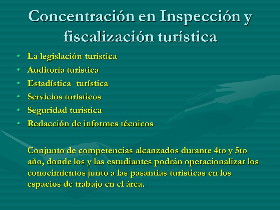 Concentración en Inspección y fiscalización turística