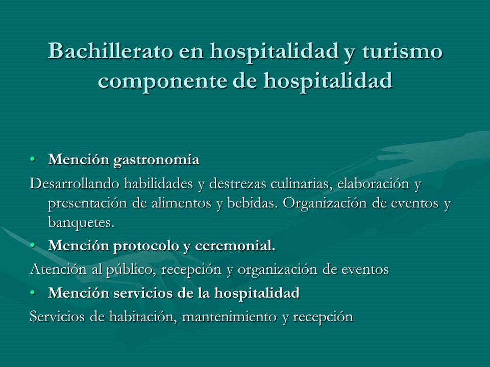 Bachillerato en hospitalidad y turismo componente de hospitalidad