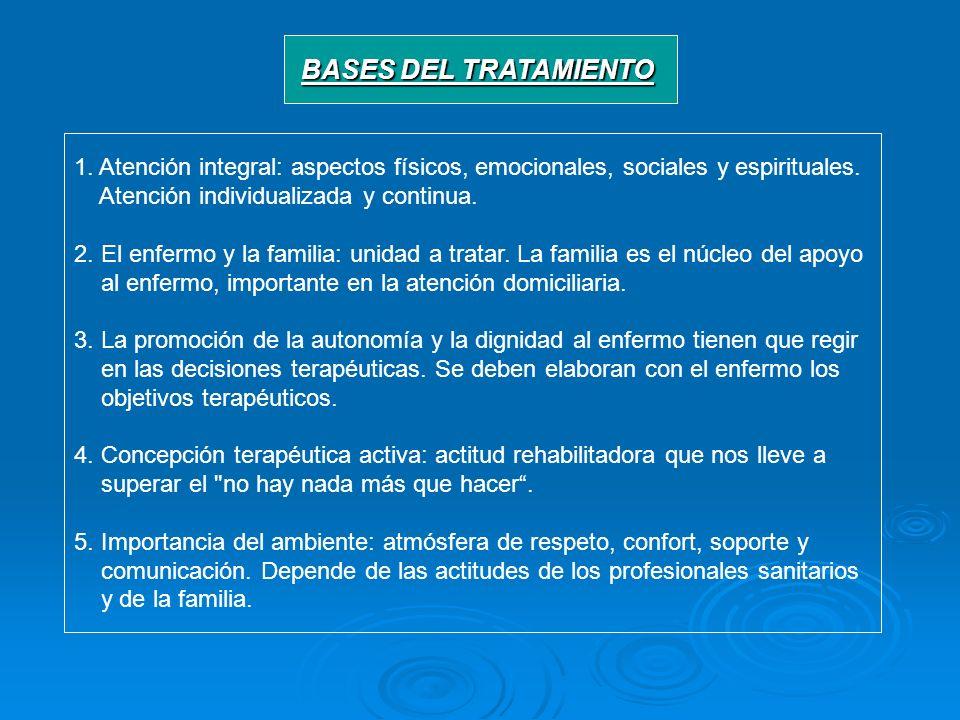 BASES DEL TRATAMIENTO 1. Atención integral: aspectos físicos, emocionales, sociales y espirituales.