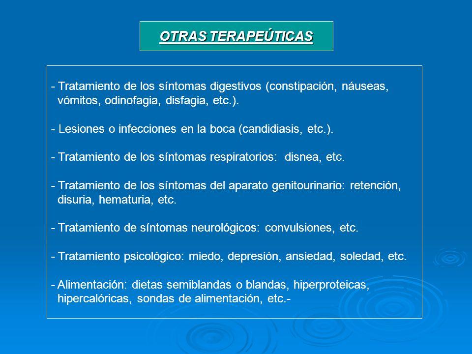 OTRAS TERAPEÚTICAS Tratamiento de los síntomas digestivos (constipación, náuseas, vómitos, odinofagia, disfagia, etc.).