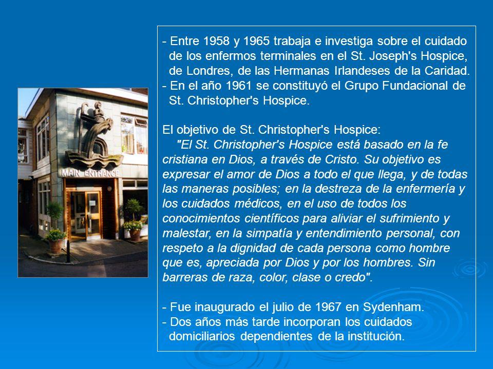 - Entre 1958 y 1965 trabaja e investiga sobre el cuidado