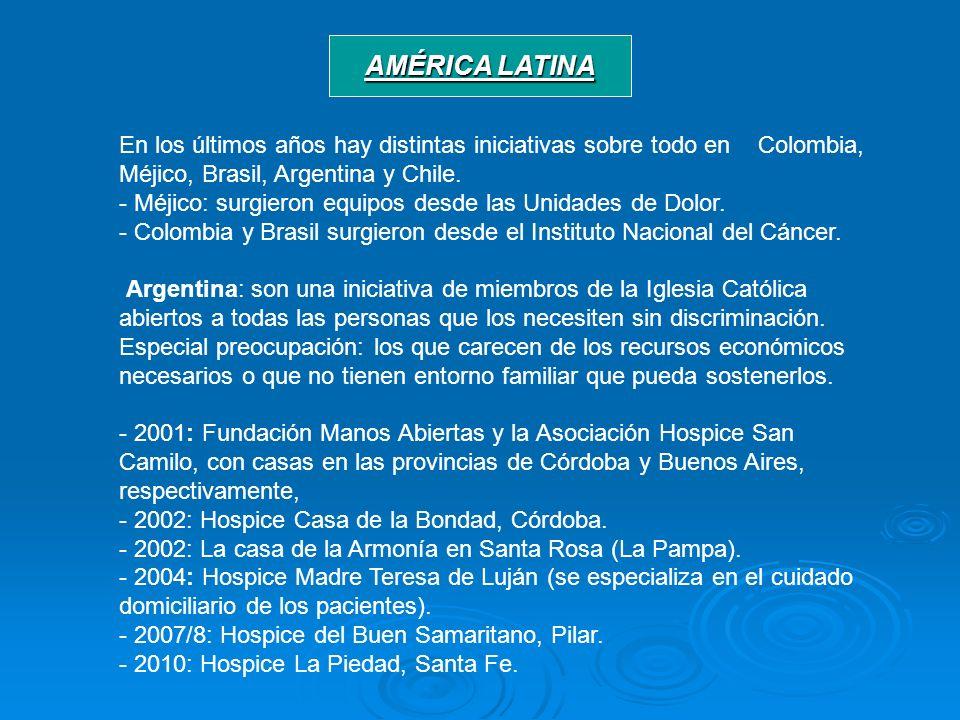 AMÉRICA LATINA En los últimos años hay distintas iniciativas sobre todo en Colombia, Méjico, Brasil, Argentina y Chile.