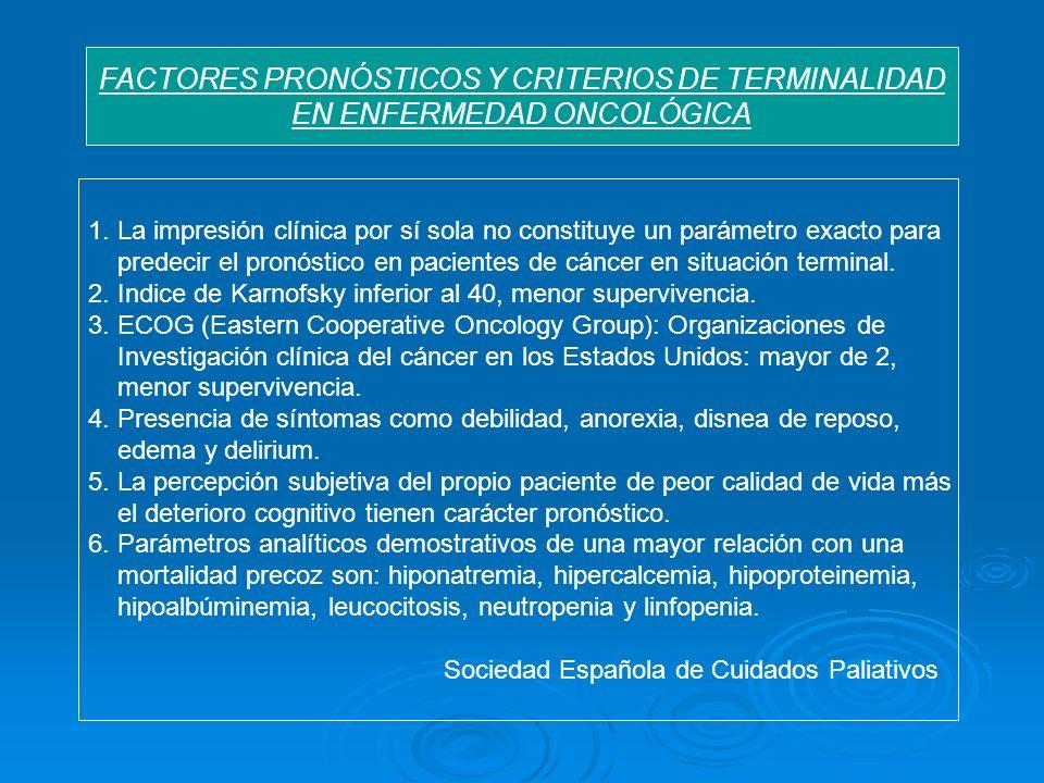FACTORES PRONÓSTICOS Y CRITERIOS DE TERMINALIDAD