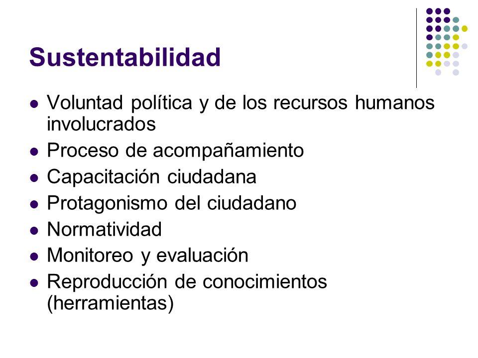 Sustentabilidad Voluntad política y de los recursos humanos involucrados. Proceso de acompañamiento.