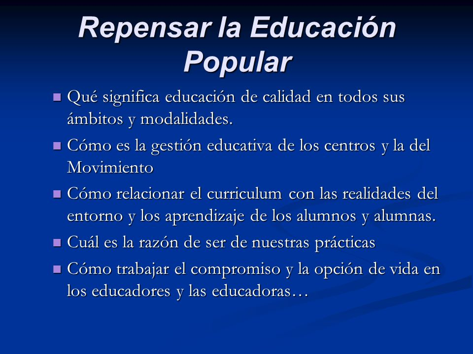 Repensar la Educación Popular