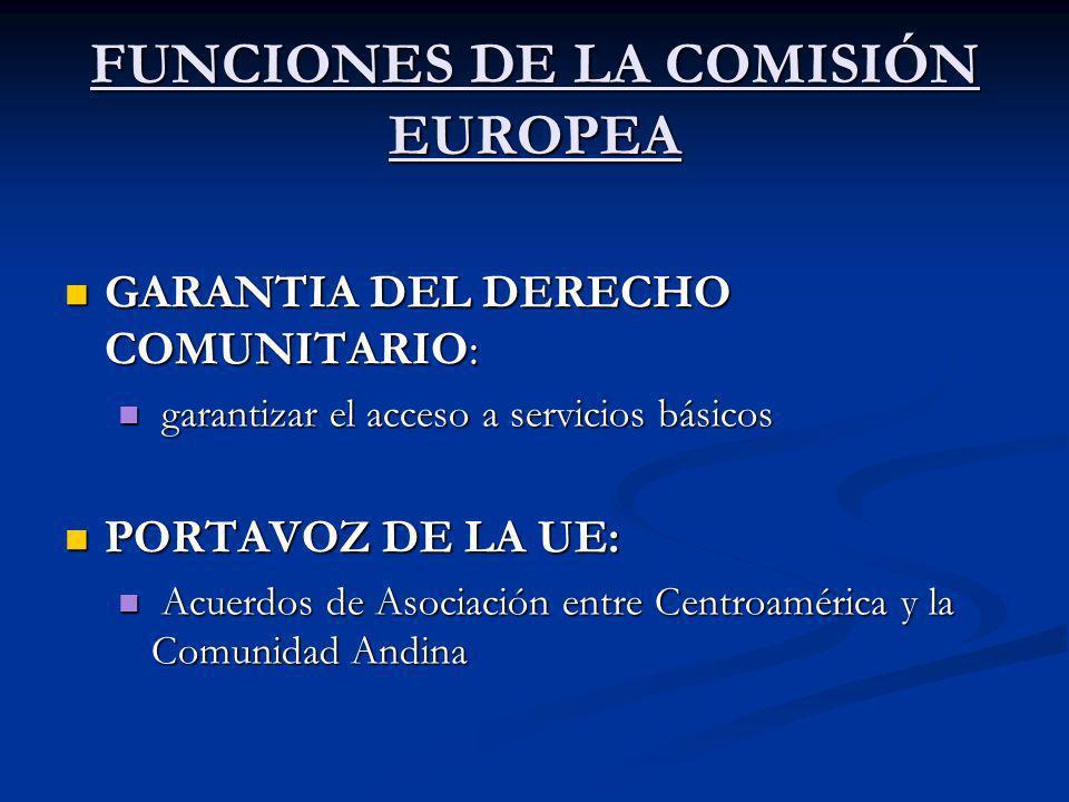 FUNCIONES DE LA COMISIÓN EUROPEA