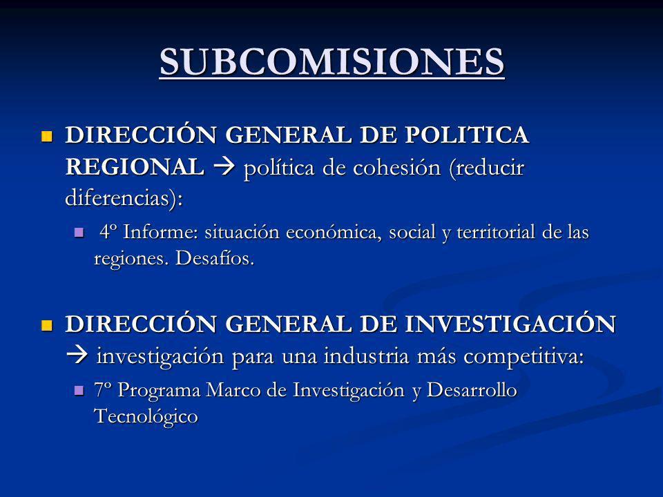 SUBCOMISIONES DIRECCIÓN GENERAL DE POLITICA REGIONAL  política de cohesión (reducir diferencias):