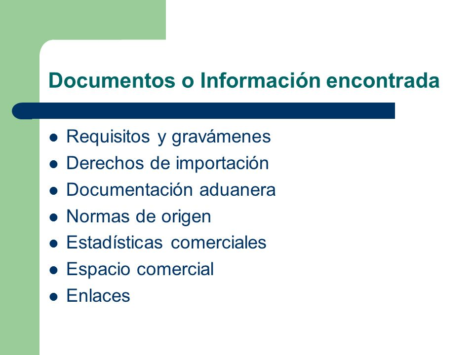 Documentos o Información encontrada