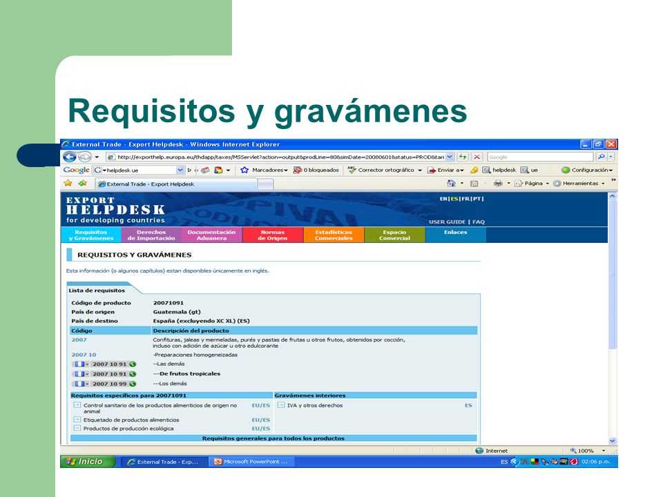 Requisitos y gravámenes