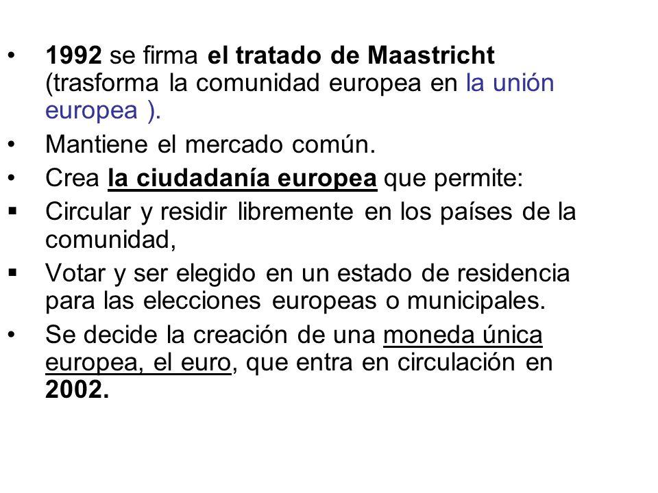 1992 se firma el tratado de Maastricht (trasforma la comunidad europea en la unión europea ).