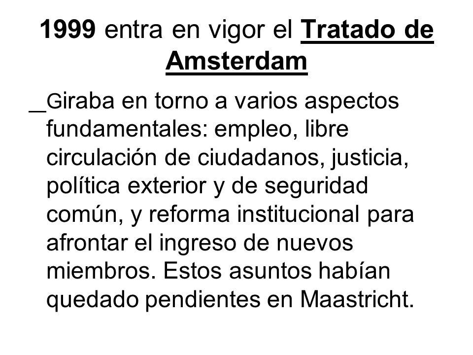 1999 entra en vigor el Tratado de Amsterdam