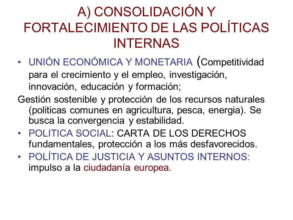 A) CONSOLIDACIÓN Y FORTALECIMIENTO DE LAS POLÍTICAS INTERNAS