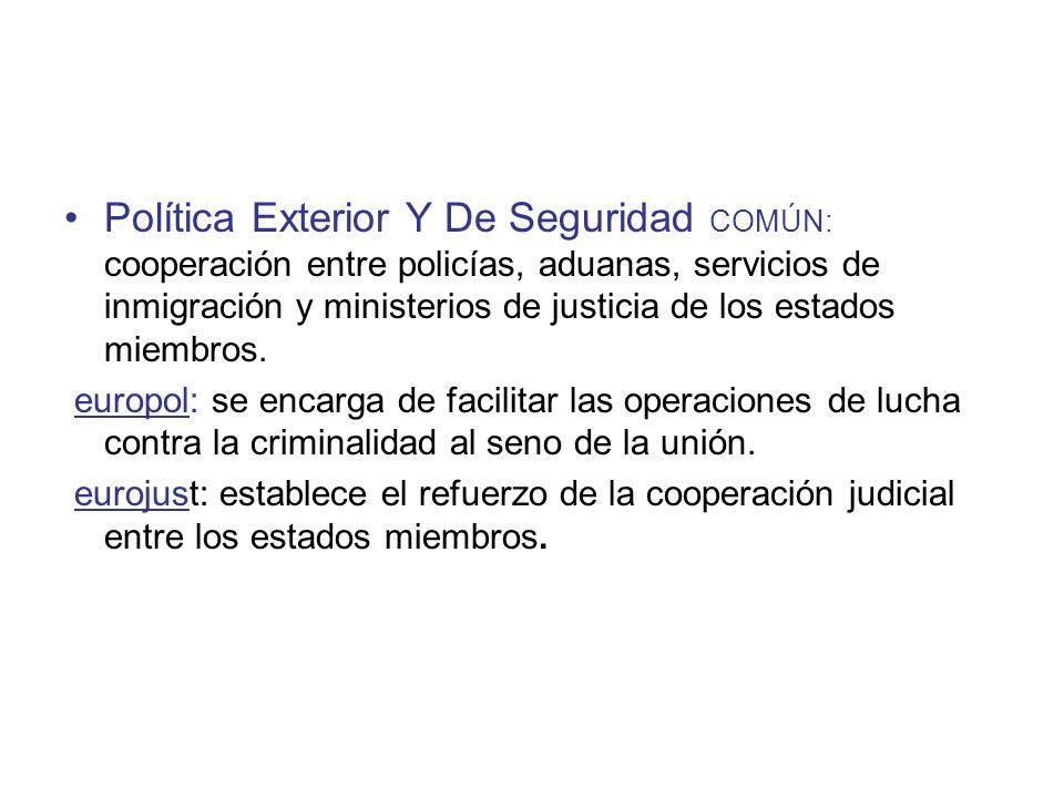 Política Exterior Y De Seguridad COMÚN: cooperación entre policías, aduanas, servicios de inmigración y ministerios de justicia de los estados miembros.