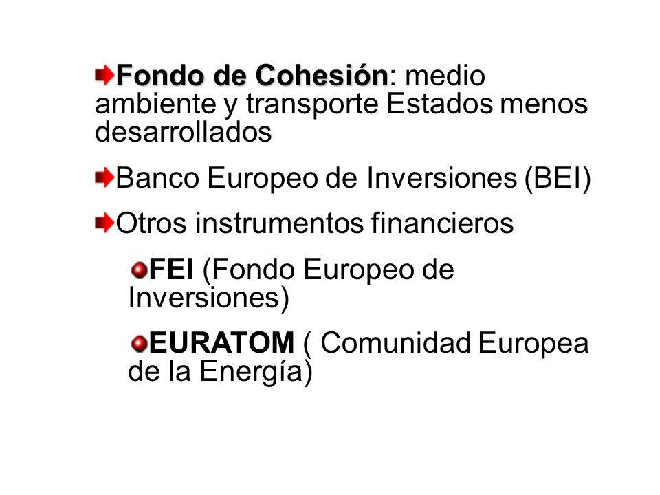 Fondo de Cohesión: medio ambiente y transporte Estados menos desarrollados