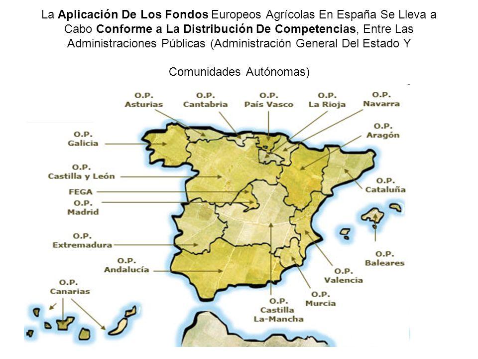La Aplicación De Los Fondos Europeos Agrícolas En España Se Lleva a Cabo Conforme a La Distribución De Competencias, Entre Las Administraciones Públicas (Administración General Del Estado Y Comunidades Autónomas)