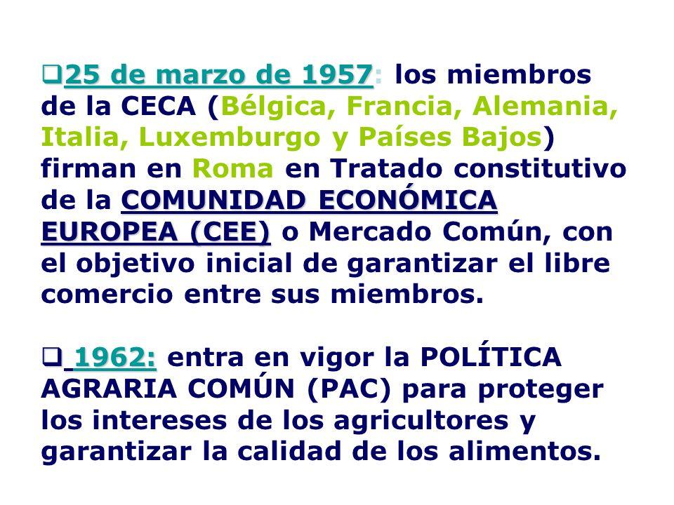 25 de marzo de 1957: los miembros de la CECA (Bélgica, Francia, Alemania, Italia, Luxemburgo y Países Bajos) firman en Roma en Tratado constitutivo de la COMUNIDAD ECONÓMICA EUROPEA (CEE) o Mercado Común, con el objetivo inicial de garantizar el libre comercio entre sus miembros.