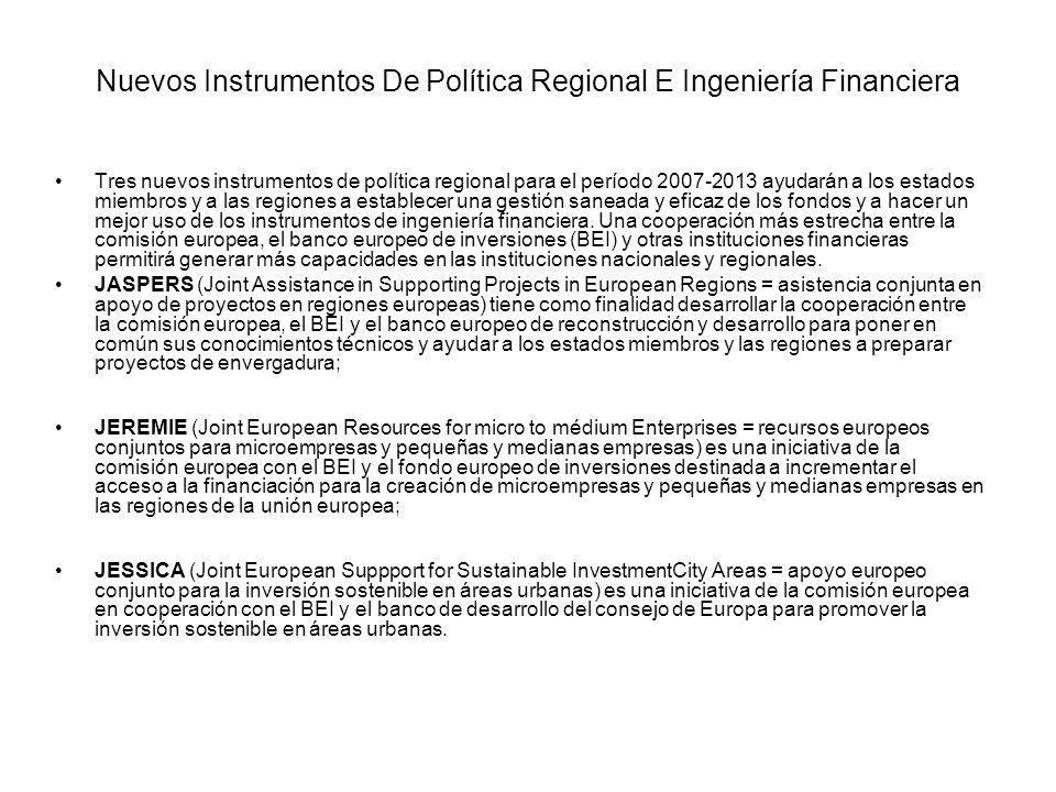 Nuevos Instrumentos De Política Regional E Ingeniería Financiera