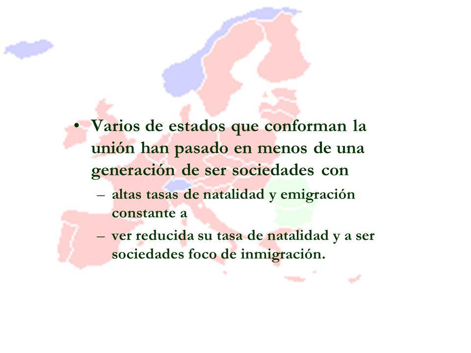 Varios de estados que conforman la unión han pasado en menos de una generación de ser sociedades con