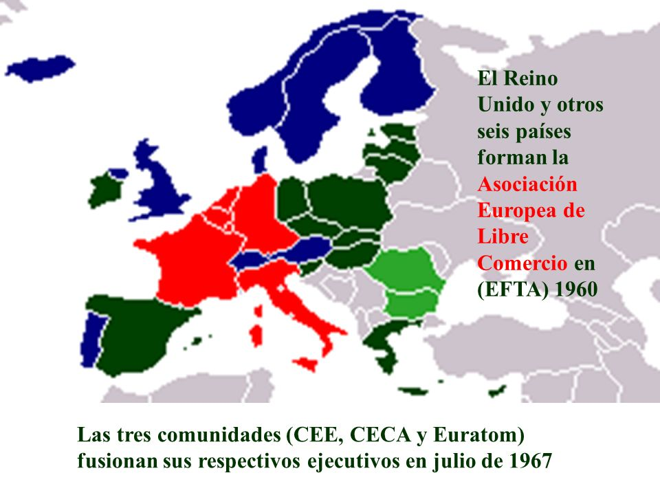 El Reino Unido y otros seis países forman la Asociación Europea de Libre Comercio en (EFTA) 1960