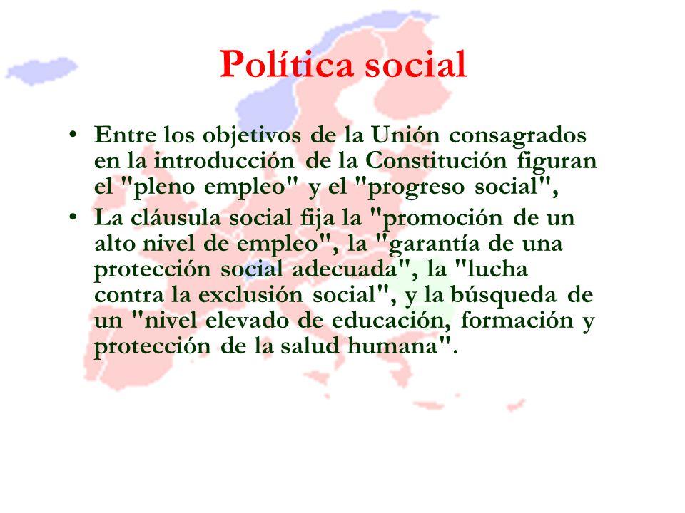 Política social Entre los objetivos de la Unión consagrados en la introducción de la Constitución figuran el pleno empleo y el progreso social ,