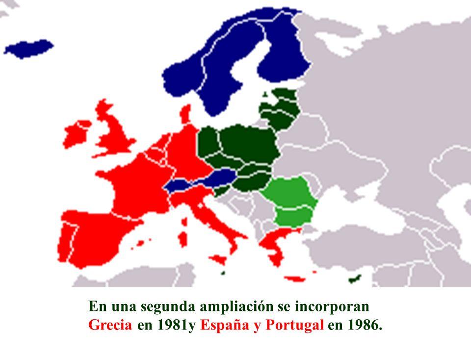 En una segunda ampliación se incorporan Grecia en 1981y España y Portugal en 1986.