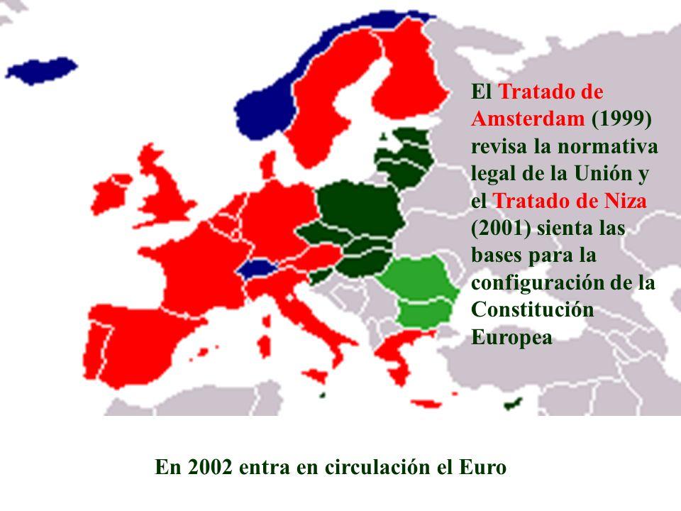 El Tratado de Amsterdam (1999) revisa la normativa legal de la Unión y el Tratado de Niza (2001) sienta las bases para la configuración de la Constitución Europea
