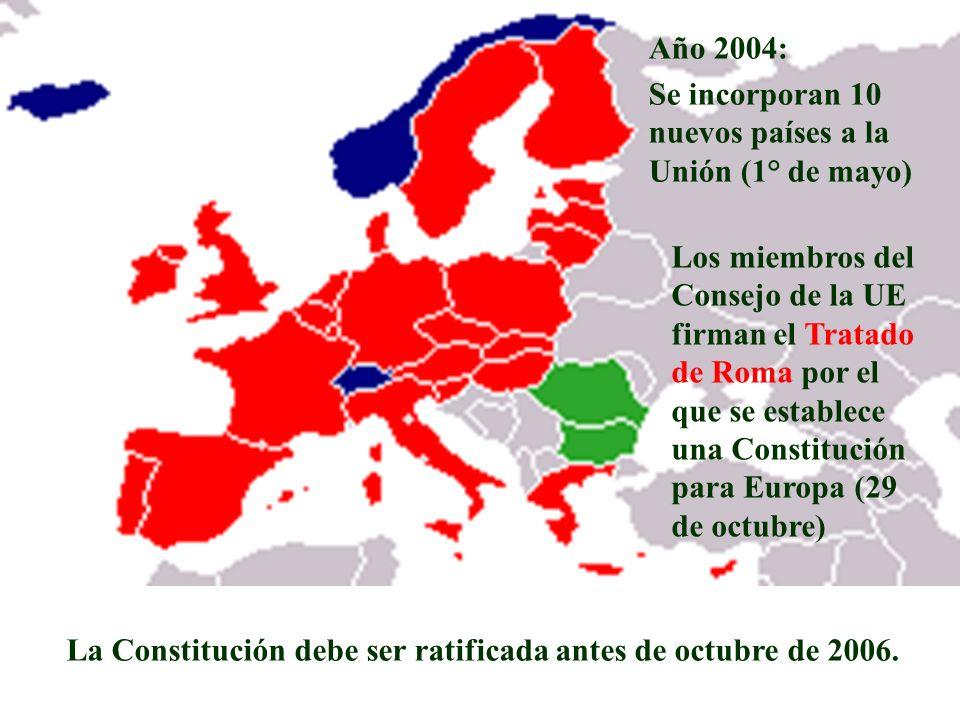 Año 2004:Se incorporan 10 nuevos países a la Unión (1° de mayo)