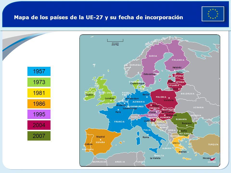 Mapa de los países de la UE-27 y su fecha de incorporación