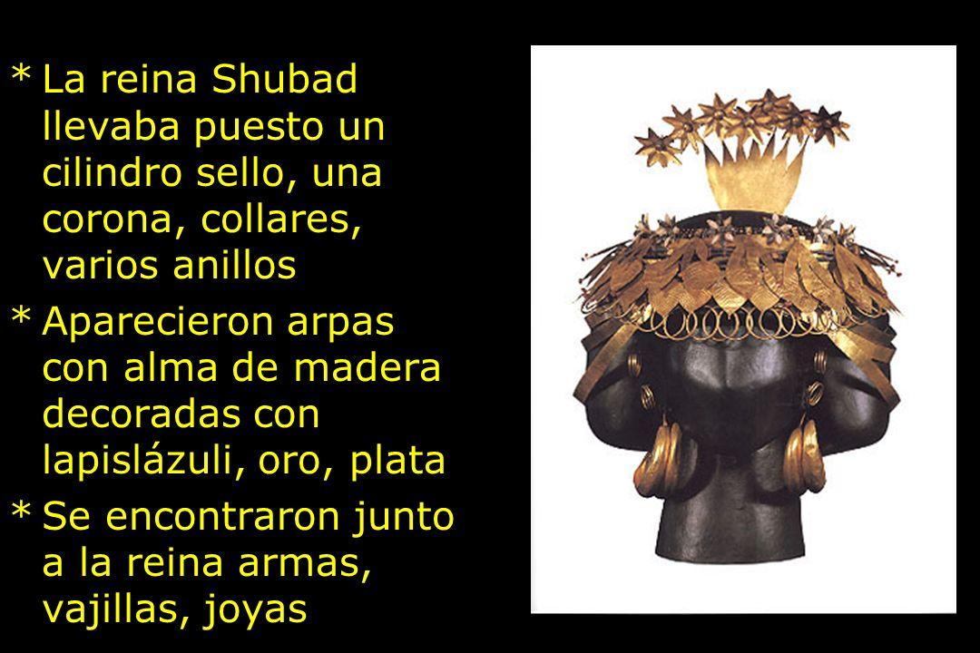 La reina Shubad llevaba puesto un cilindro sello, una corona, collares, varios anillos