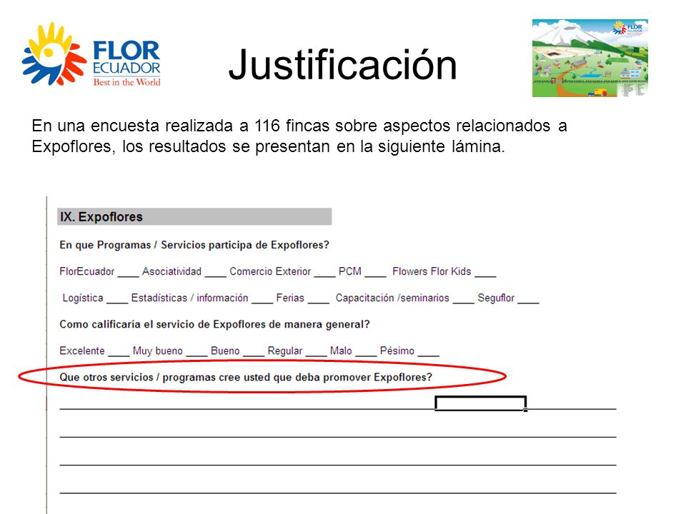 JustificaciónEn una encuesta realizada a 116 fincas sobre aspectos relacionados a Expoflores, los resultados se presentan en la siguiente lámina.