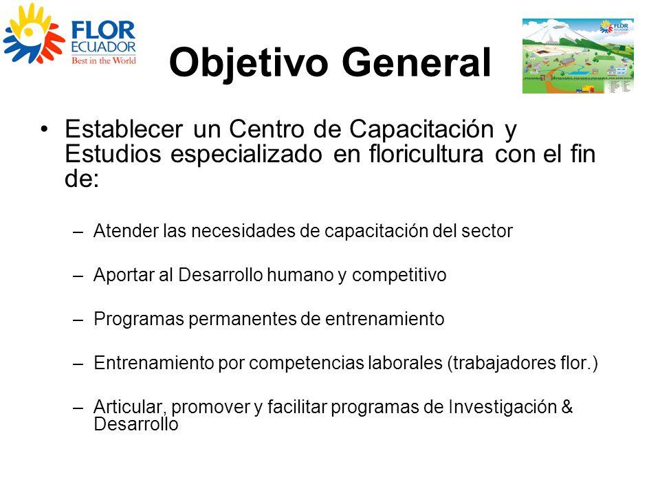Objetivo General Establecer un Centro de Capacitación y Estudios especializado en floricultura con el fin de: