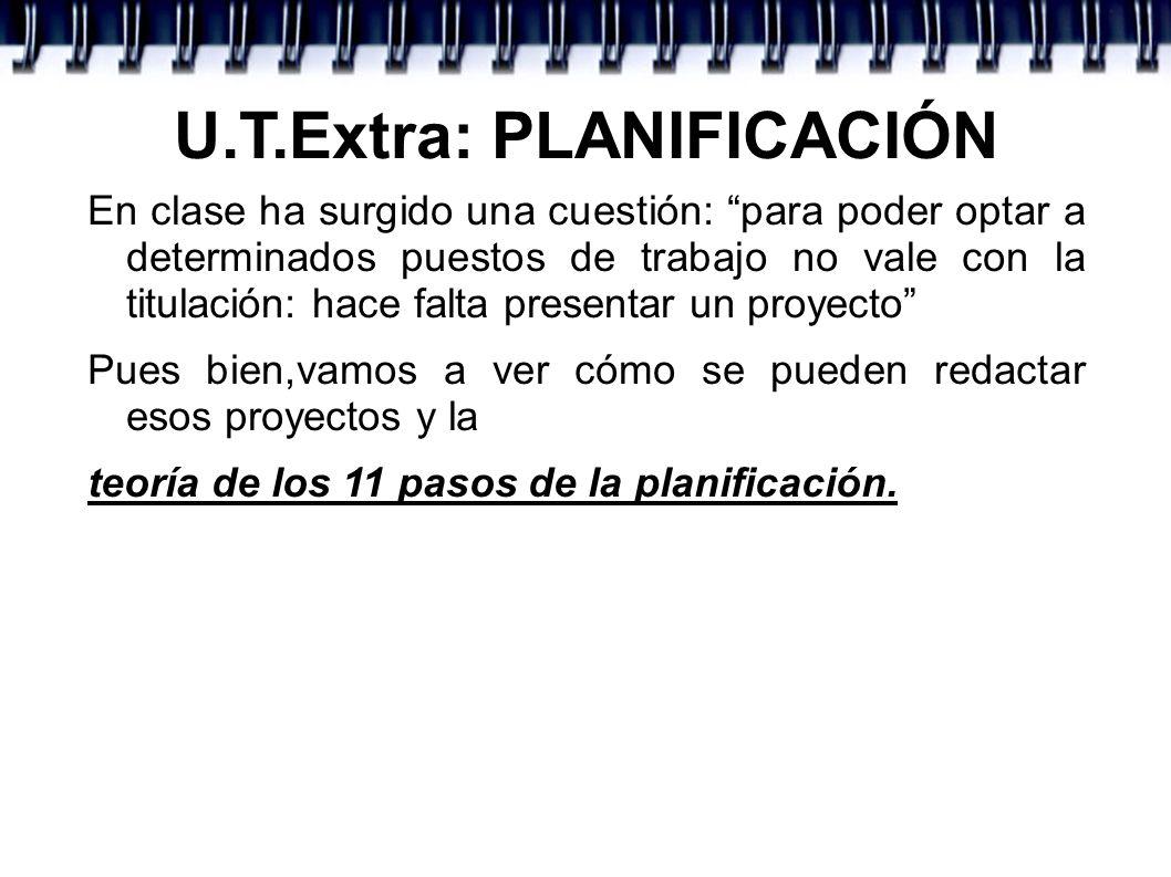 U.T.Extra: PLANIFICACIÓN