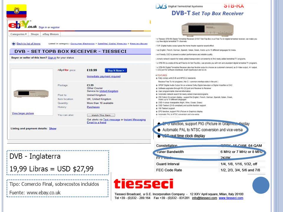 DVB - Inglaterra 19,99 Libras = USD $27,99