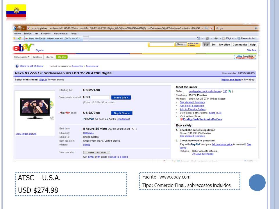 ATSC – U.S.A. USD $274.98 Fuente: www.ebay.com