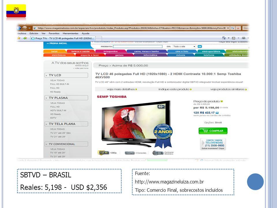 SBTVD – BRASIL Reales: 5,198 - USD $2,356 Fuente: