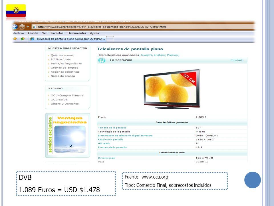 DVB 1.089 Euros = USD $1.478 Fuente: www.ocu.org