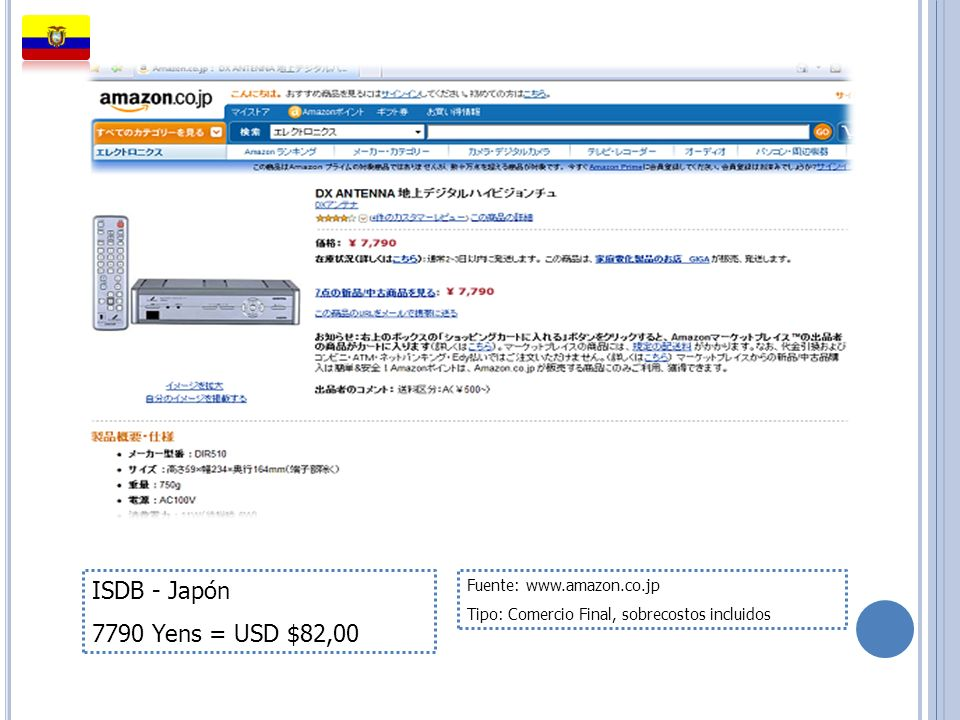 ISDB - Japón 7790 Yens = USD $82,00 Fuente: www.amazon.co.jp