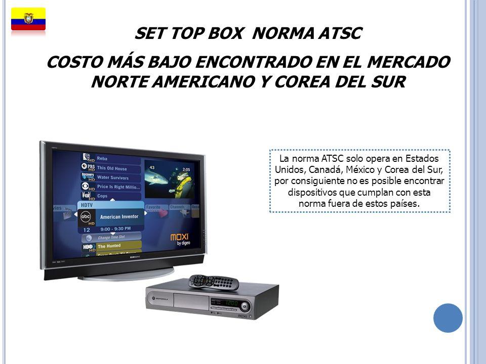 SET TOP BOX NORMA ATSC COSTO MÁS BAJO ENCONTRADO EN EL MERCADO NORTE AMERICANO Y COREA DEL SUR.