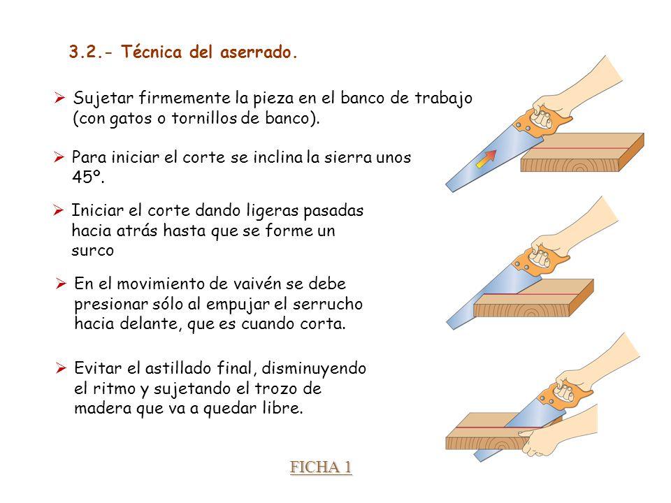 3.2.- Técnica del aserrado. Sujetar firmemente la pieza en el banco de trabajo (con gatos o tornillos de banco).